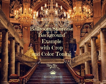 Princess and Fairy Tale BALLROOM Digital BACKGROUND Belle-Inspired Storybook Staircase