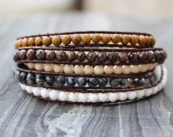 FACETED Wrap leather bracelet, Chan Luu style bracelet, 5-wrap jasper bracelet, multiple strands bracelet, braided leather wrap bracelet