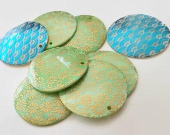 Shell Pendants, 40mm Round - Painted Shell Pendants, Blue Shell Pendants, Green Shell Pendants, Mother of Pearl Pendants