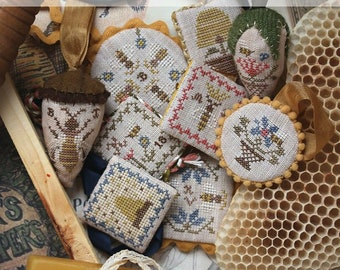 NEW! HEARTSTRING SAMPLERY Beekeeping Edition Festive Little Fobs counted cross stitch patterns at thecottageneedle.com