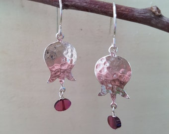 Pomegranate Droplet- SSPD2- Sterling Silver Hammered Pomegranate Earrings. with Garnet and Amethyst stones