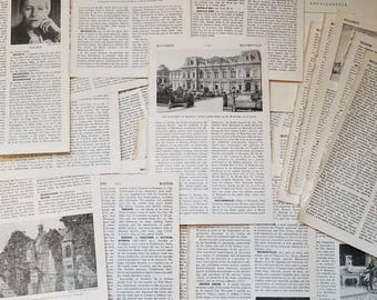 Vintage Encyclopedia Pages / Old Book Pages / Vintage Paper / Book Illustrations / Vintage Photography / Black and White / Decoupage