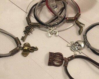 BadAss Leather/Suede Wine Charms - Set of 6!