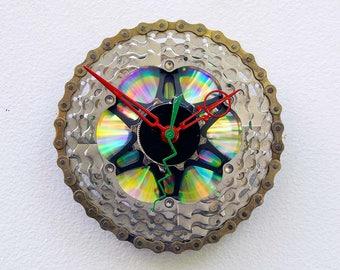 bike gift clock, christmas gift, wall clock, recycled christmas gift, upcycled bike gift, steampunk gift, bike art, Recycled Bike Gear Clock