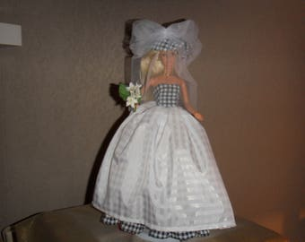 Doll clothes fabric white wedding gown handmade couture
