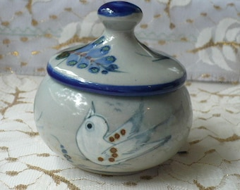 Ceramic Container With Lid, Something Blue Wedding Gift, Bird Lover Gift, Bridesmaid Gift Bird, Gift For Daughter Butterfly, Anniversary
