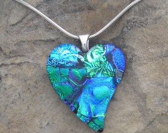 Blue Green Heart Pendant Fused Dichroic Glass Heart Necklace