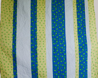 Striped baby quilt - free shipping