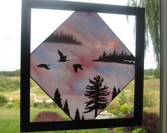 """Stained Glass Copper Overlay - Geese Flight - """"Fly By"""""""