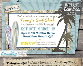 Vintage Surf Birthday Party Invitation - INSTANT DOWNLOAD - partially Editable & Printable Beach, Pool, Summer Party Invite