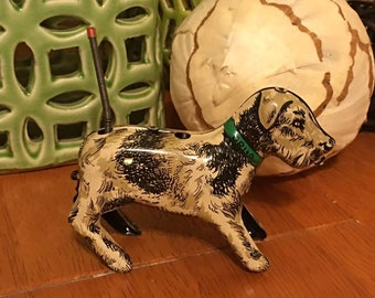 Vintage Ori-O Orianna Metal Products Tailspin Pup Wind-Up Toy Dog Tin
