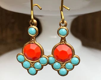 Aqua and Orange Art Deco Earrings, Vintage Inspired Dangles, Lightweight Turquoise & Coral Tone Swarovski Rhinestone Drop Earrings