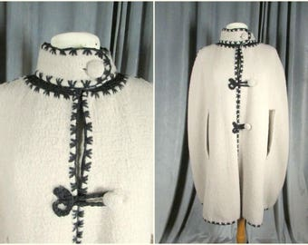Vintage 70s Wool & Crochet Cape. Made In Greece. Madmen Style High Neck with Retro Button Cloak. Crochet Frog Closure Poncho. Lined.