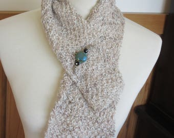 Alpaca Handspun Handknit Scarf made from a Blend of All Natural Fawn, White & Beige Alpaca Blended with Merino - Handmade Scarf Pin Included