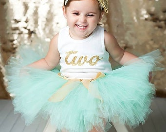 Mint Gold Birthday Outfit Birthday Outfits 2nd Birthday Outfit Second Birthday Outfit Tutu Dress Birthday Tutu