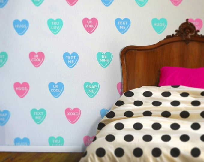 candy hearts wall decal set