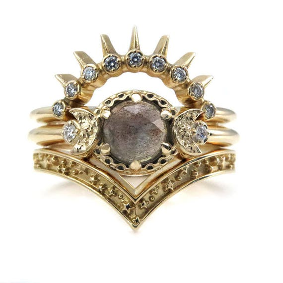 Sunray Moon and Star Engagement Ring Set - Rose Cut Labradorite 14k Gold with Diamonds - Celestial Stacking Wedding Set