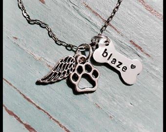 Pet Memorial Necklace - Pet Memorial - Paw Print Necklace - Dog Bone Wing Necklace - Dog Memorial - Pet Loss Gift - Memorial Jewelry