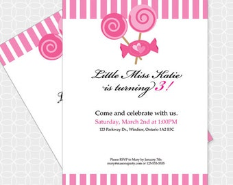 Pink Candy Party Invitation, Printable file, Personalized