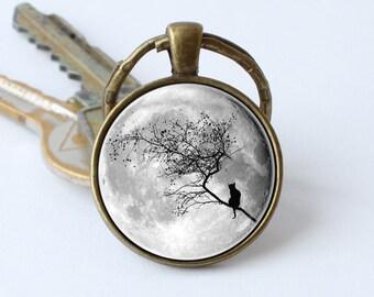 Keychain cat and moon Full moon keyring Moon and cat Moon jewelry Moon pendant Cat pendant Grey moon keychain Car accessory Moon gifts