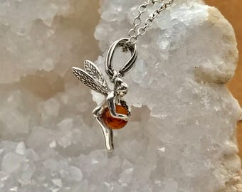 Amber-Fairy-Sterling Silver-Chain-Necklace-Dominican Amber-for her