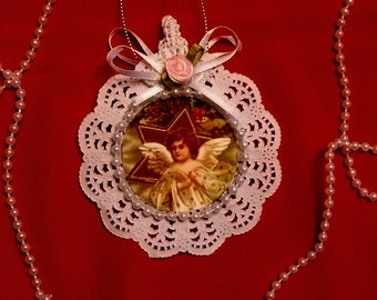 New Handmade Vintage Style Victorian Christmas Card Tree Ornament - Angel Star
