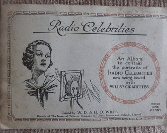 Vintage Picture Cards Wills Cigarette Picture Card Album Radio Celebrities set of 50 cards. W D & H O Wills