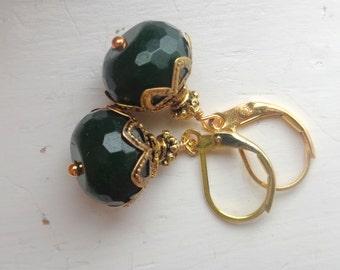 Green Earrings, Deep Green  Earrings Green Agate Earrings Dangle Earrings