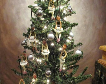 "Ballet Themed Christmas Tree for 18"" Dolls - 12 Ballerina Doll Ornaments"