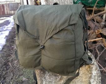 Distressed bag, Vintage Shoulder Khaki Bag, Army Messenger Bag from 1970s, Student Bag, Military Bag USSR type Cold War