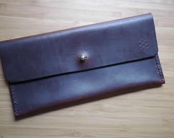 handmade leather long pouch