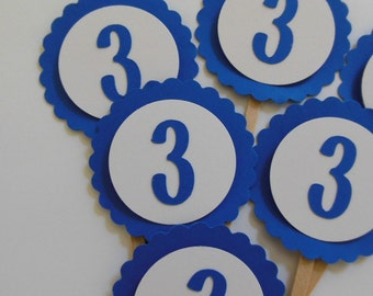 3rd Birthday Cupcake Toppers - Royal Blue and White - Child Birthday Party Decorations - Gender Neutral - Set of 6
