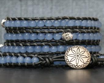 day of the dead jewelry - skull wrap bracelet- blue jade and silver skulls on pewter leather - dia de los muertos - boho rocker glam