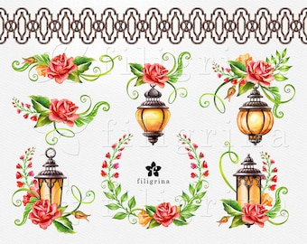 Floral Lantern WATERCOLOR Clip Art. Autumn garden Rose flowers Holiday Wreath design Halloween decorations. 8 elements. Commercial use
