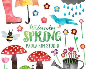 Spring Clipart, Watercolor Springtime Clip Art Set, Commercial Use, Instant Download
