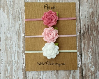Felt flower headband, baby headband set, baby flower headband, Newborn headband, flower headband, toddler flower headband