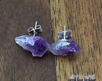 Raw Amethyst Earrings Rough Chunk Studs Druzy Natural Gemstone Jewelry Geode Crystal Boho Bride Bridesmaid Gift for Her Mother's Day Mom
