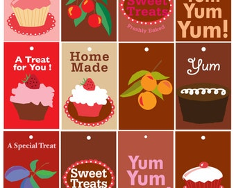 Baking Gift Tags - Cupcake, Yum, home made, yum yum yum crabapple plum,chocolate treats