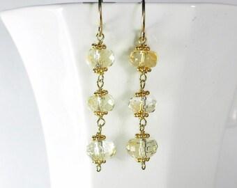 Citrine Earrings Gold Yellow Gemstone Earrings Light Yellow Drop Earrings Genuine Citrine Earrings November Birthstone