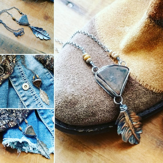 Petrified Wood Stone, Handcut Forged leaf & Sterling Silver Necklace
