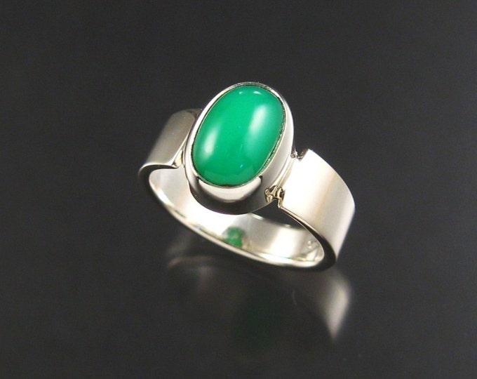 Chrysoprase ring, Sterling, size 6