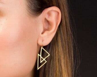 Triangle Earrings • Gold Dangle Earrings • Geometric Earrings • Gold Filled Earrings • Boho Earrings • Bridesmaid Earrings | 0085EM