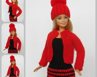 Barbie outfit, Barbie sweater, Barbie hat, Barbie clothes, Barbie doll clothes, doll fashion, doll sweater, Barbie, knitted,fashion royalty