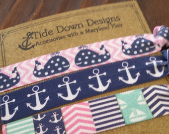 Preppy Whale and Anchor Elastic Hair Ties