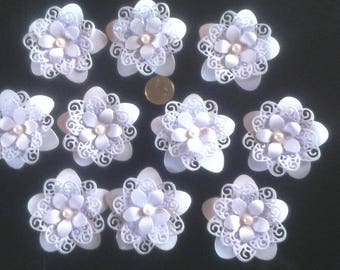 set of 10 flowers for scrapbooking or cardmaking