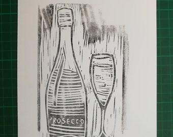Prosecco o'clock. Bottle and glass original print. Linocut. Linoprint.