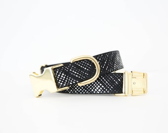 Black and White Basketweave Dog Collar