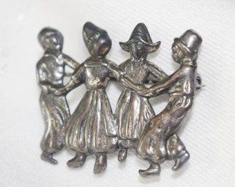 Vintage Sterling Silver Pin Brooch Dutch Children Dancing 1950s
