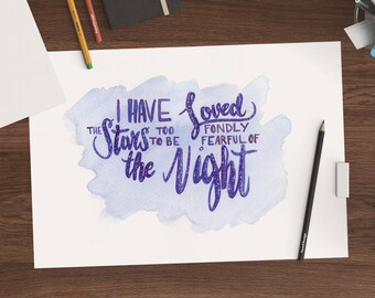 A4 Original Brush Letter Watercolor Stars Quote