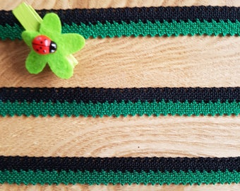 Two-tone, green lace black, 100% cotton (DMC) 15mm